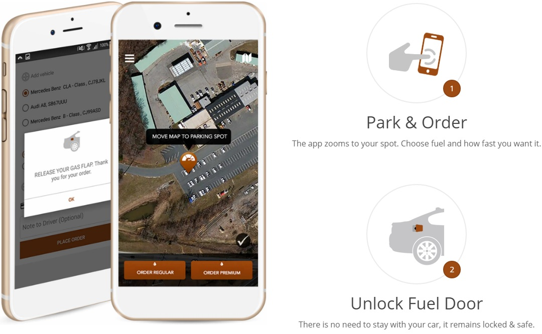 Fuel Drop, an app that allows you to order a car fill up at your location