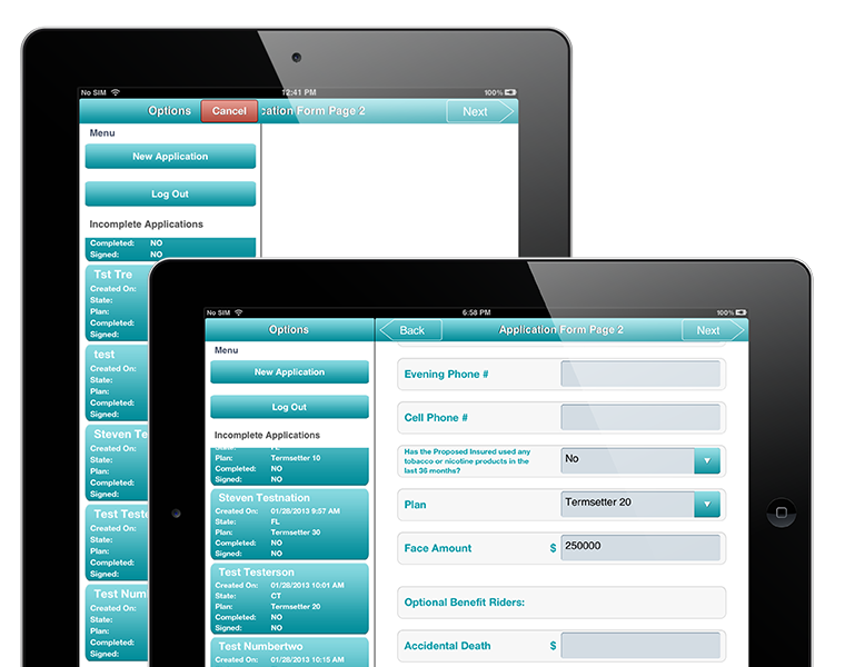 Tablet App for a large insurance group from the mid-west